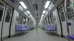 Empty  Carriage of the Subway SMRT in Singapore stock footage