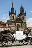 Empty carriage for tourists. On the Old Town Square in Prague, Czech republic Royalty Free Stock Photography
