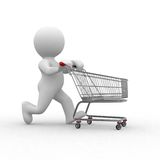 Empty cart. 3d human figure with empty shopping cart Stock Photo