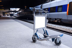 Empty cart on the station Royalty Free Stock Images