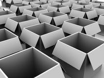 Empty carton boxes. 3d illustration of many empty carton boxes Royalty Free Stock Photos