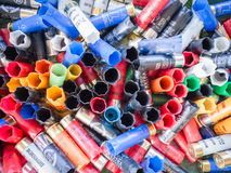 Empty cartridges collected in a skeet shooting range. Stock Images