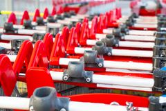 Empty carts for large purchases. In the supermarket Stock Image