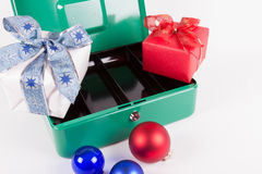 Empty cash box after Christmas shopping Royalty Free Stock Photo