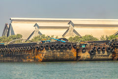 Empty cassava barges. Stock Image