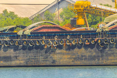 Empty cassava barges. Royalty Free Stock Photography