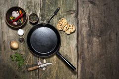 Empty cast iron pan Royalty Free Stock Photos