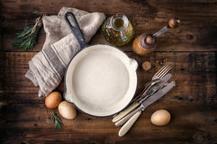 Empty cast iron skillet Stock Images