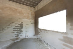 Empty cement concrete room in construction work Royalty Free Stock Image