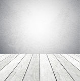 Empty cement wall  and wood flor in perspective background Stock Images