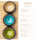 Empty ceramic bowls on bamboo placemat Royalty Free Stock Photos