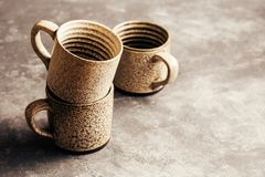Empty ceramic coffee mugs. Wiht copy space, close-up royalty free stock photo