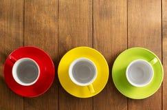 Empty ceramic cup on wood Stock Photo