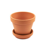 Empty ceramic flower pot isolated. Empty ceramic brown flower pot isolated over the white background royalty free stock images
