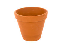 Empty ceramic flowerpot on a white background Stock Photos