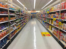 Empty Cereal Aisle at Grocery Store Stock Image