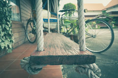 Empty Chain Swing In Playground. Royalty Free Stock Photo