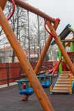 Empty chain swing. On kids playground Royalty Free Stock Photography