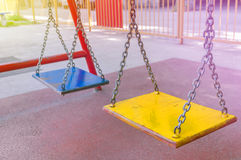 Empty chain swing in playground close Stock Photography
