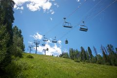 Empty chair lift in Vail, Colorado in summer Stock Photos