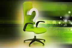 An empty chair with  question mark Stock Photo