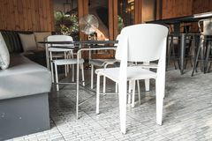 Empty chair in restaurant Stock Photo