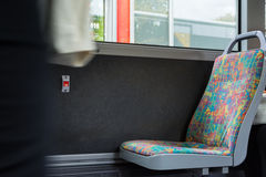 Empty Chair Seat Bus Pattern Fabric Inside Public Transportation Royalty Free Stock Photo