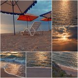 Empty chair stand on beach under opened umbrella sunset time collage of toned images Stock Photo