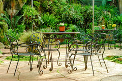 Empty chair and table in garden Royalty Free Stock Image