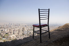 Empty chair. Towards city landscape Royalty Free Stock Images