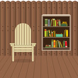 Empty Chair On Wood Wall And Ground With Bookcase Beside Stock Images