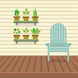 Empty Chair On Wood Wall And Ground With Pot Plants Shelves Royalty Free Stock Photography