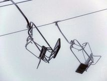 Empty chairlifts. Royalty Free Stock Photos