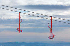 Empty chairlifts in moutain Royalty Free Stock Images