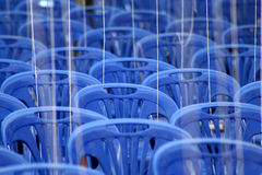 Empty chairs. Awaiting pilgrims coming for a Buddhist festival near Bangkok, Thailand stock photo