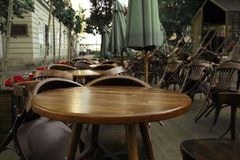 Empty Chairs And Tables Near The Summer Cafe Royalty Free Stock Photography