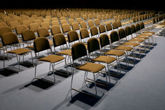 Empty chairs of an auditorium in a congress hall Royalty Free Stock Photos