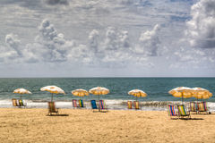 Empty chairs. At the beach of Recife, Brazil Stock Images