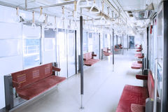 Empty chairs in the commuter trains Royalty Free Stock Photo