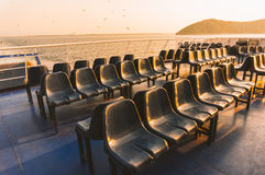 Empty chairs on a ferry Royalty Free Stock Photos