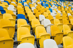 Empty chairs before a football match. Royalty Free Stock Photography