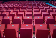 Empty chairs at olympic stadium at Lake Placid Stock Photo