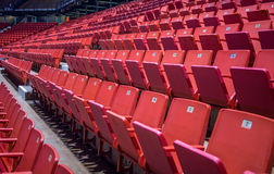 Empty chairs at olympic stadium at Lake Placid Stock Images