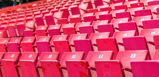 Empty chairs at olympic stadium at Lake Placid Stock Photos