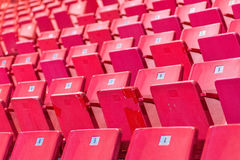 Empty chairs at olympic stadium at Lake Placid Stock Photography