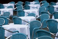 Empty chairs in restaurant Stock Photo