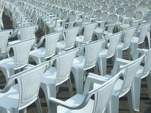 Empty chairs. Some empty chairs on open air concert stock photo