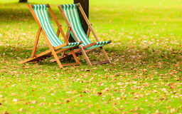 Empty chairs in St. James's Park London Royalty Free Stock Photography
