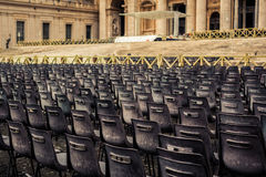 Empty Chairs  in St Peters Square. In Rome Stock Photo