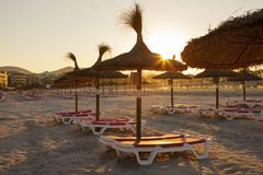 Chairs and umbrella on the beach. Empty chairs and straw umbrellas on the Alcudia beach in Majorca at sunrise stock image